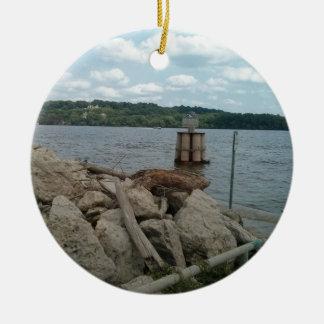 Riverwalk Dubuque Iowa Fluss Mississipi Rundes Keramik Ornament