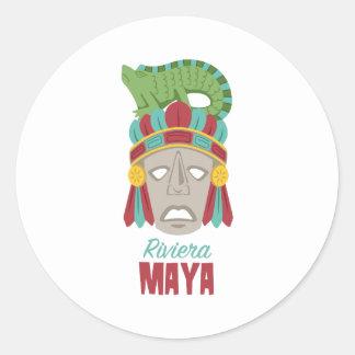 Riviera-Maya-Maske Runder Aufkleber