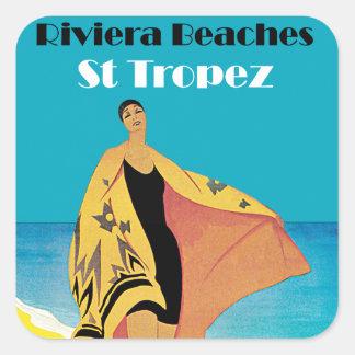 Riviera setzt ~ St Tropez auf den Strand Quadrat-Aufkleber