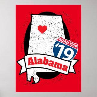 Roadtrip '19 Alabama - rotes Plakat