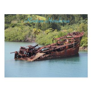 Roatan Honduras, Schiffbruch entlang der Küste Postkarte