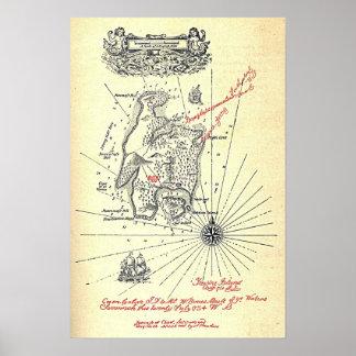 Robert Louis Stevensons Schatz-Insel-Karte Poster