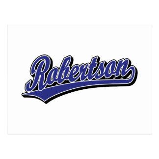 Robertson-Skriptlogo in blauem deluxem Postkarte