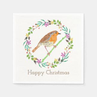 Robin der Vogel von Weihnachten Papierservietten