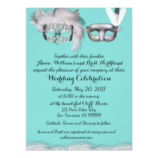 Robin-Ei-blaue und weiße Maskerade-Hochzeit 16,5 X 22,2 Cm Einladungskarte