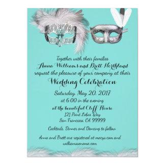 Robin-Ei-blaue und weiße Maskerade-Hochzeit Karte