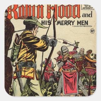 Robin Hood Comic-Buch Quadrataufkleber