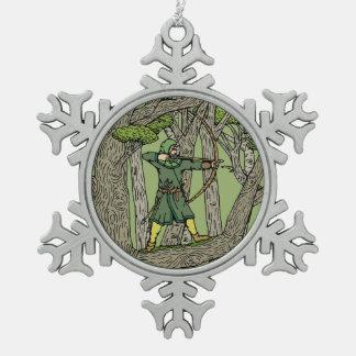 Robin Hood Schneeflocken Zinn-Ornament