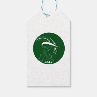 Robin Hood Seitenprofil-Kreis-Holzschnitt Geschenkanhänger
