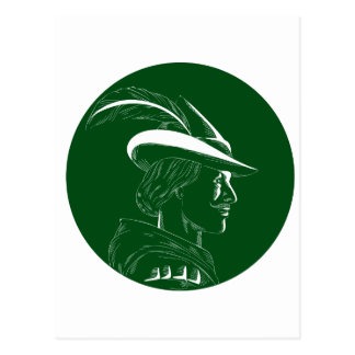 Robin Hood Seitenprofil-Kreis-Holzschnitt Postkarte