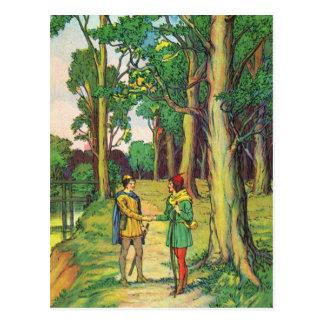 Robin Hood und kleiner John Postkarte