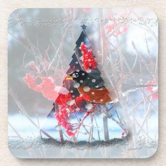 Robin im Baum; Frohe Weihnachten Drink Untersetzer
