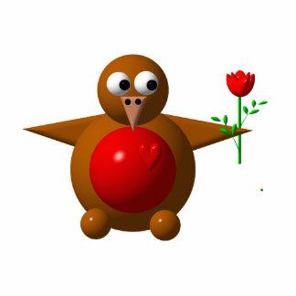 Robin mit einer Rose Freistehende Fotoskulptur