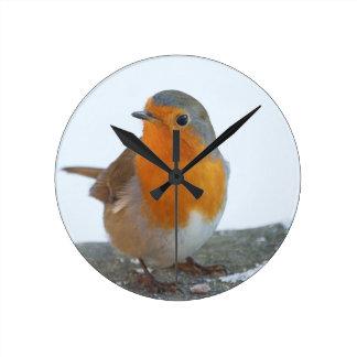 Robin-Rot-Brust Runde Wanduhr