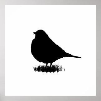 Robin-Silhouette-Liebe-Vogel-Aufpassen Poster
