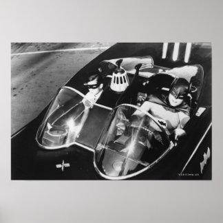 Robin und Batman in Batmobile Poster
