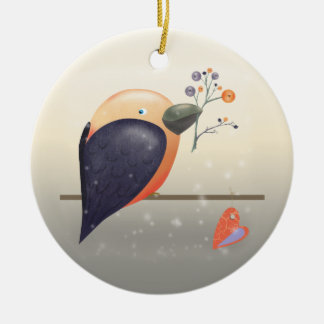 Robin-Vogel und Snowy-Weihnachtsverzierung Keramik Ornament
