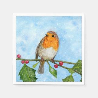Robin-Vogel-Wasserfarbe-malende Papierserviette