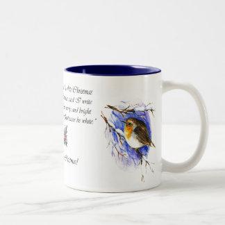 Robin-WeihnachtsTasse Zweifarbige Tasse