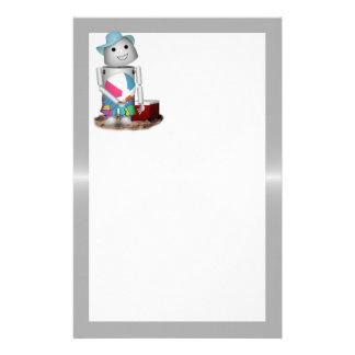 Robo-x9 am Strand (Metallhintergrund) Büropapiere