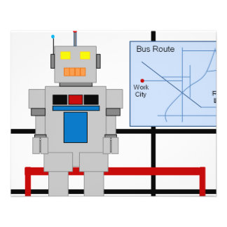 Roboter an einer Bushaltestelle Flyer