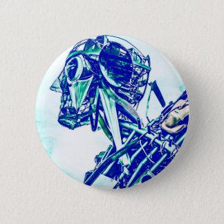 Roboter-Blues Runder Button 5,1 Cm
