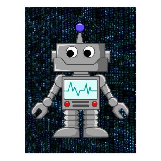 Roboter-Cartoon Postkarte
