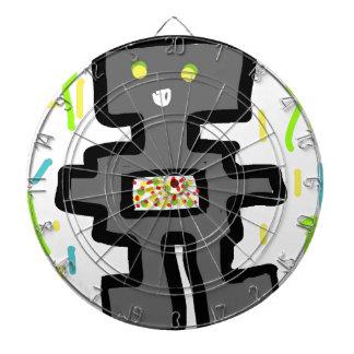 Roboter, der Cartoon zeichnet Dartscheibe
