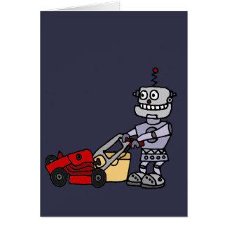 Roboter, der Rasenmäher drückt Karte