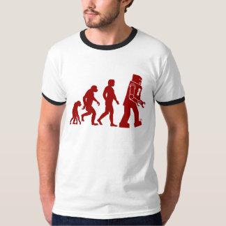Roboter-Evolution des Mannes in Roboter T-Shirt
