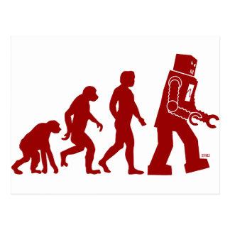 Roboter-Evolution - vom Mann in Roboter Postkarten