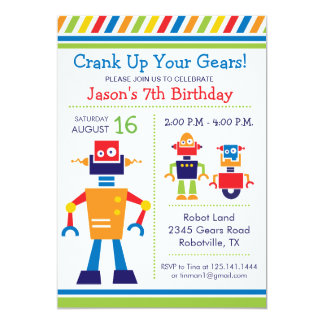 Roboter-Geburtstags-Party Einladung