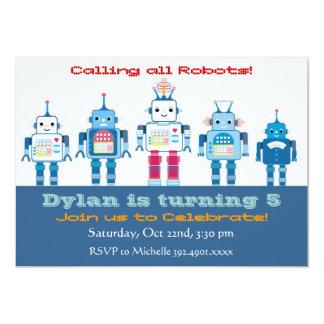 Roboter-Geburtstags-Party Einladungen