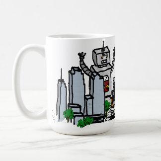 Roboter gegen Stadt Kaffeetasse
