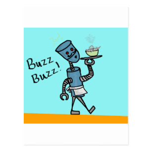 Roboter-Kellner Postkarte
