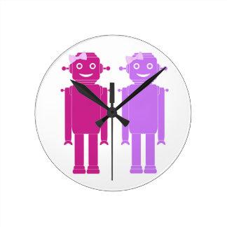 Roboter-Mädchen-Uhr Runde Wanduhr