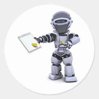 Roboter mit ein Klemmbrett-Aufklebern Runder Aufkleber