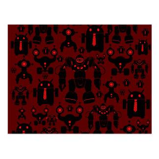 Roboter-Regel-Spaß-Roboter-Silhouette-Rot-Robotik Postkarte