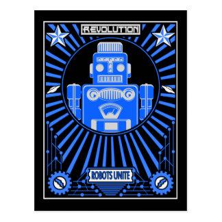 Roboter Reolution Blau Postkarte