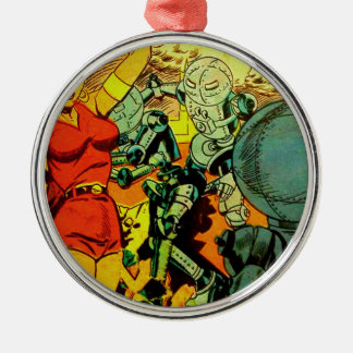 Roboter-Revolution Silbernes Ornament