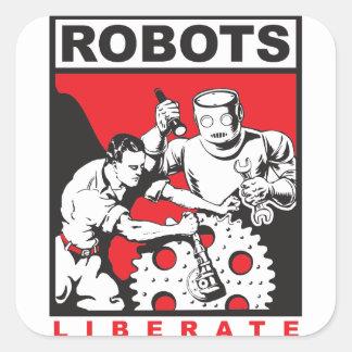 Roboter-Sets Sie frei Quadratischer Aufkleber
