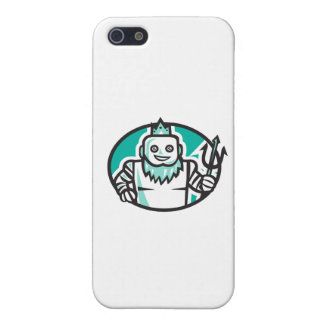 RoboterPoseidon, das Trident-ovales Retro hält iPhone 5 Cover