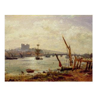 Rochester-Kathedrale und Schloss, c.1820-30 (Öl an Postkarte
