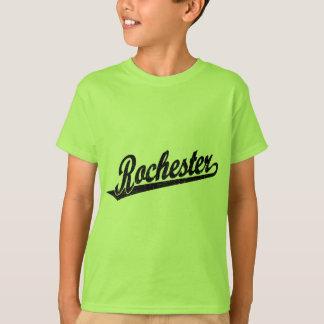Rochester-Skriptlogo im Schwarzen beunruhigt T-Shirt