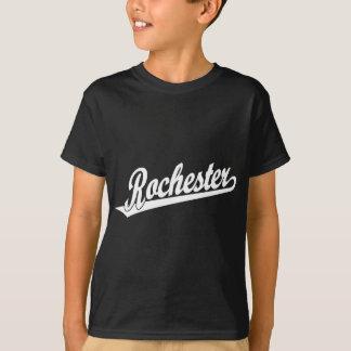 Rochester-Skriptlogo im Schwarzen im Weiß T-Shirt