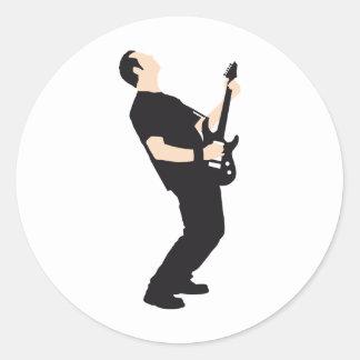 rock and roll e-guitar player runder aufkleber