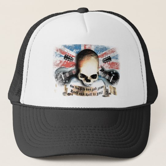 rock and roll skull flag and guitars truckerkappe