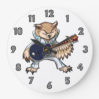 Rock-and-Rollgitarren-Eule im Overall-Cartoon Große Wanduhr