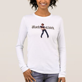 Rock-Küken-Schmutz-Kunst Langarm T-Shirt