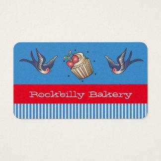 Rockabilly Bäckerei blauer Streifen Visitenkarte